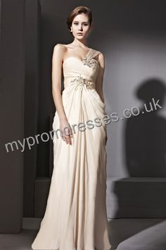 Floor Length One-shoulder Skin Pink Chiffon A-line Evening Dress  http://www.mypromdresses.co.uk