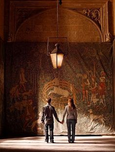 Harry and Ginny in Room of Requirement. Slightly disappointed that it is not a tapestry of trolls learning ballet.