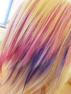 Pink & Purple in blonde hair