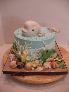 beluga whale cake | Follow your dreams beluga whale graduation cake