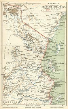 German map of Zanzibar and German East Africa (Tanzania) c. 1890, with Mount Kilimanjaro #zanzibar #map #tanzania
