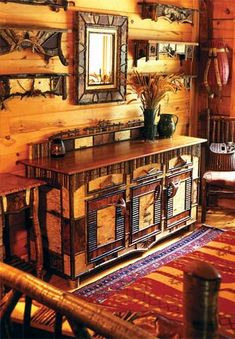Adirondack Style Colorado House Rustic Western Antique Fly Fishing Baskets Rustic Furniture