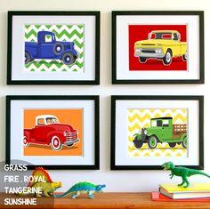 chevron childrens art - transportation wall art prints - retro trucks - pick your colors, nursery art prints for boys. $45.00, via Etsy.