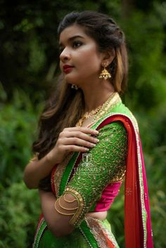 Contrast blouse with mirror work New Blouse Designs, Pattu Saree Blouse Designs, Stylish Blouse Design, Bridal Blouse Designs, Designer Blouse Patterns, Designer Dresses, Designer Wear, Sleeves Designs For Dresses, Work Blouse
