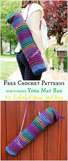 Colorful Yoga Mat Bag Free Crochet Pattern -#Crochet; #Yoga; Mat Bag Free Patterns