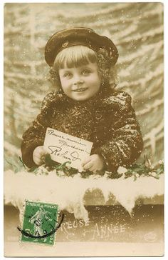 Old French Photo – Sweet Snowy Girl