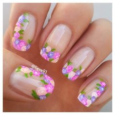 Flowers do not always open, but the beautiful Floral nail art is available all year round. Choose your favorite Best Floral Nail art Designs 2018 here! We offer Best Floral Nail art Designs 2018 .If you're a Floral Nail art Design lover , join us now ! Flower Nail Designs, Nail Designs Spring, Nail Art Designs, Nails Design, Creative Nail Designs, Floral Designs, Fancy Nails, Trendy Nails, Cute Nails