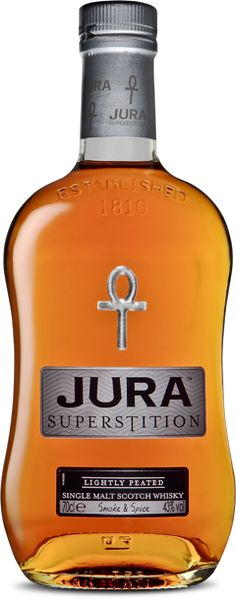 """Jura Whisky - SUPERSTITION     a single malt  """"Lightly peated with hints of smoke ... you may pick out hints of honey and pine, as the balance of peated and unpeated spirits is matured to perfection in ex-Bourbon casks."""""""