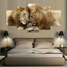 Lion Animal  5 Panel Canvas Wall Art Print