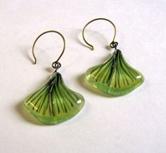 Fused Glass Earings Ginko by CDChilds on Etsy, $18.00