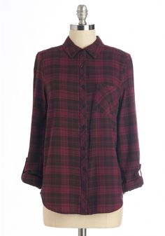 By the Light of the Fireside Top in Burgundy | Mod Retro Vintage Short Sleeve Shirts | ModCloth.com