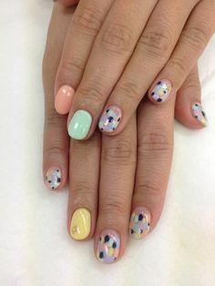 uñas decoradas de tonos pasteles, diseño veraneo Gel Manicure, Mani Pedi, Diy Nails, Cute Nails, Finger Nail Art, Funky Nails, Diy Nail Designs, Nail Inspo, Hair And Nails