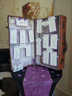 Plan der Ehetafel restaurierter Koffer von Scrapadabra auf Etsy