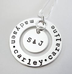 Personalized Family Necklace - Sterling Silver Washer - Hand Stamped Names Jewelry - Patricia Ann Jewelry Designs. $52.50, via Etsy.