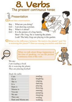 Verbs and the present continuous.