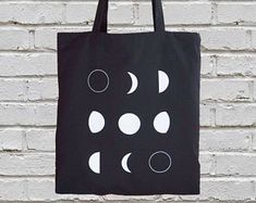 Cotton canvas tote bag - gift-for-her - moon tote bag - moon phases tote bag - canvas totes - screen printed tote bag