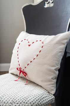 How to make a cute Valentine's Day Heart Pillow from a canvas drop cloth and Red Ribbon. Valentines Day Decorations, Be My Valentine, Valentine Craft, Saint Valentine, Valentine Wreath, Valentine Ideas, Burlap Pillows, Throw Pillows, Decorative Pillows