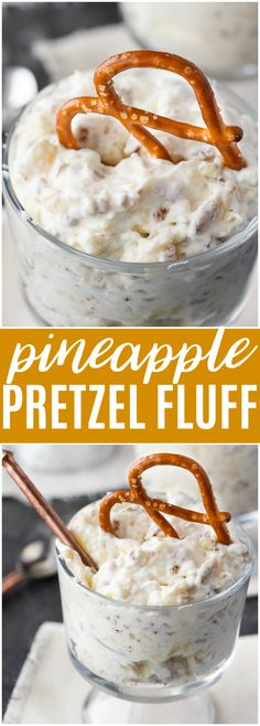 Pineapple Pretzel Fluff - Bet you can't eat just one! This creamy, rich dessert is one for the record books. #dessert #fluff