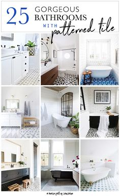 Patterned tiles for the floor of a bathroom have been trending for a while now, and it's not hard to see why. They add so much drama and personality to your room design, and they look simply gorgeous. Here are 25 of the most beautiful bathrooms with patterned floor tiles that we have found on the web! #bathroom #floor #patterned #tile #decor #design