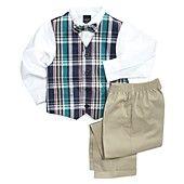 Nautica Little Boys' Plaid Vest, Shirt, Bow Tie & Suiting Pants