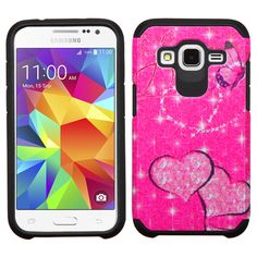 Insten Hot Pink/ Butterfly Glittering Hard PC/ Silicone Dual Layer Hybrid Phone Case Cover For Samsung Galaxy Core Prime