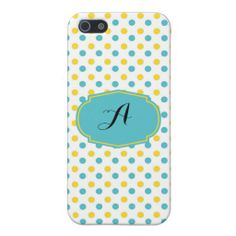 Yellow and Blue Dots Custom Initial iPhone 5/5S Case