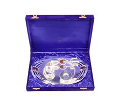 IndianArtVilla Handmade Decorative Silver Plated Pooja Thali Aarti Thali Set of 5 pieces with Gift Box Packing for use worship Festivals Occasion Home Decore Wedding Aniversary Diwali Gift item