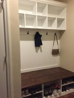 Extra wide shoe bench and cubby area | Do It Yourself Home Projects from Ana White