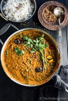 This easy to make Creamy Coconut Lentil Curry takes less than an hour to make (mostly hands off time) and is packed full of delicious Indian flavors. It's a healthy vegan recipe that makes a perfect meatless Monday dinner recipe. Make extras and you'll ha Whole Food Recipes, Dinner Recipes, Cooking Recipes, Healthy Recipes, Microwave Recipes, Potluck Recipes, Healthy Meals, Appetizer Recipes, Sweet Recipes