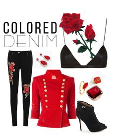 """Denim Rose"" by pilialoha-cashman on Polyvore featuring WearAll, GUESS by Marciano, Moon and Lola, Anne Sisteron, Dione London, Pierre Balmain and NYX"