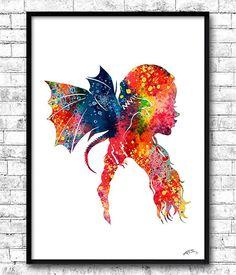 Daenerys Targaryen Game of thrones watercolor print by ArtsPrint