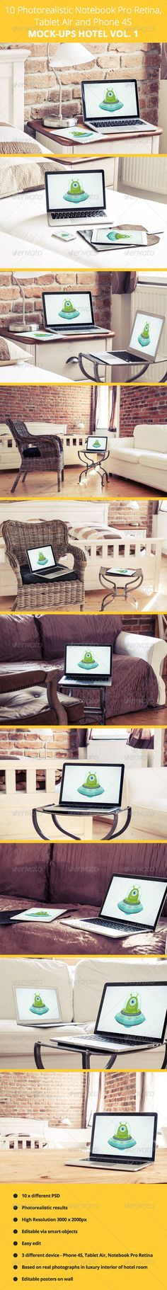 10 Photorealistic Device Mock-Ups in Hotel - Vol.1 - Displays Product Mock-Ups