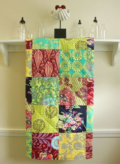 Boho Baby Quilt  - Crib Quilt made with Amy Butler fabrics in colorful mix of burgundy, yellow, green, navy,