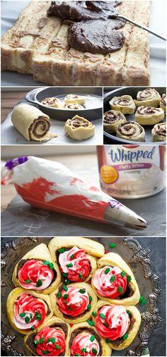 Chocolate-Peppermint Cake Batter Cinnamon Rolls
