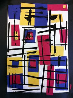 Art Room 104: Using Mondrian... cut squares and rectangles and use cardboard edges to print lines with black paint