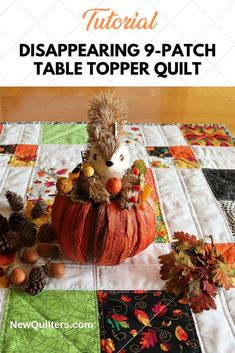 Tutorial and quilt pattern for a charming disappearing table topper simple enough for quilting beginners. Quilting For Beginners, Quilting Tips, Quilting Tutorials, Scrappy Quilts, Easy Quilts, Disappearing 9 Patch, Civil War Quilts, Quilted Table Toppers, Leftover Fabric