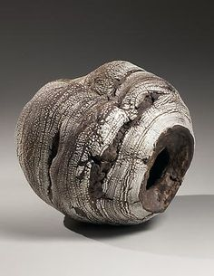 Collapsed hollow, rounded globular sculpture with crushed center, inlaid with banded granules of pre-fired crushed white porcelain, 2013 Stoneware and porcelain 11 7/8 x 12 1/8 x 11 in. Futamura Yoshimi