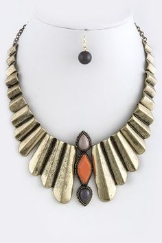 Vines of Jewels - Antique Gold Metal Ruffle Necklace & Earring Set - $29 vinesofjewels.com Wonderful Tribal look!