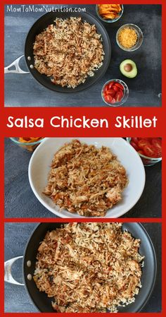 Salsa chicken skillet combines your favorite salsa and shredded chicken for one easy, make-ahead weeknight meal! Meat Recipes, Mexican Food Recipes, Crockpot Recipes, Chicken Recipes, New Recipes For Dinner, Healthy Dinner Recipes, Healthy Dinners, Healthy Slow Cooker, Healthy Meal Prep