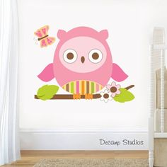 Details about owl nursery decal woodland animals baby girl wall art kids forest stickers decor etsy Owl Nursery Decor, Woodland Animal Nursery, Nursery Decals, Nursery Wallpaper, Woodland Animals, Vinyl Wall Decals, Girl Nursery, Yellow Nursery, Baby Animals