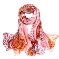 NEW Autumn Fashion Soft Lencos De Pescoco,180*110CM Gradient Classic Leopard  Print  Pattern Silk Shawl,Vintage Scarf RH018 alishoppbrasil