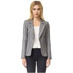 SMYTHE Tweed Duchess Blazer ($700) ❤ liked on Polyvore featuring outerwear, jackets, blazers, grey stripe, gray tweed blazer, grey tweed jacket, grey jacket, tweed jacket and grey blazer