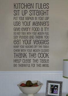 Kitchen rules vinyl wall decal art. $38.00, via Etsy.