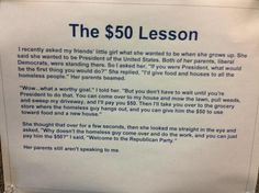The $50 lesson. This makes me so happy.