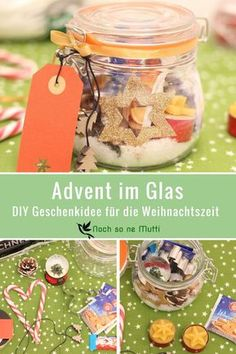 DIY für die Adventszeit – Advent im Glas Gift in the glass for the Christmas time. A quick and easy DIY gift idea. Advent in the glass is a creative gift idea for Advent and Christmas. Easy Diy Gifts, Creative Gifts, Christmas Time, Christmas Crafts, Homemade Christmas, Diy And Crafts, Crafts For Kids, Simple Crafts, Stick Crafts