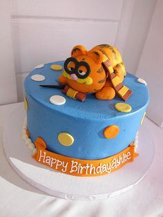 Garfield goes to Hogwarts cake - AWESOME!