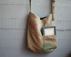 Attention, bean fiends: this rustic upcycled tote was made in Italy and fashioned from an old coffee sack. #etsyfinds