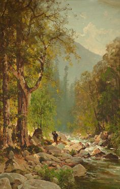 Fishing on the Merced River, Thomas Hill