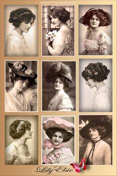 Collages vintage: Collage vintage. Fotos antiguas de Lily Elsie