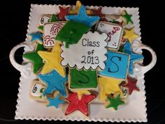 Colorful graduation sugar cookies for Taylor!